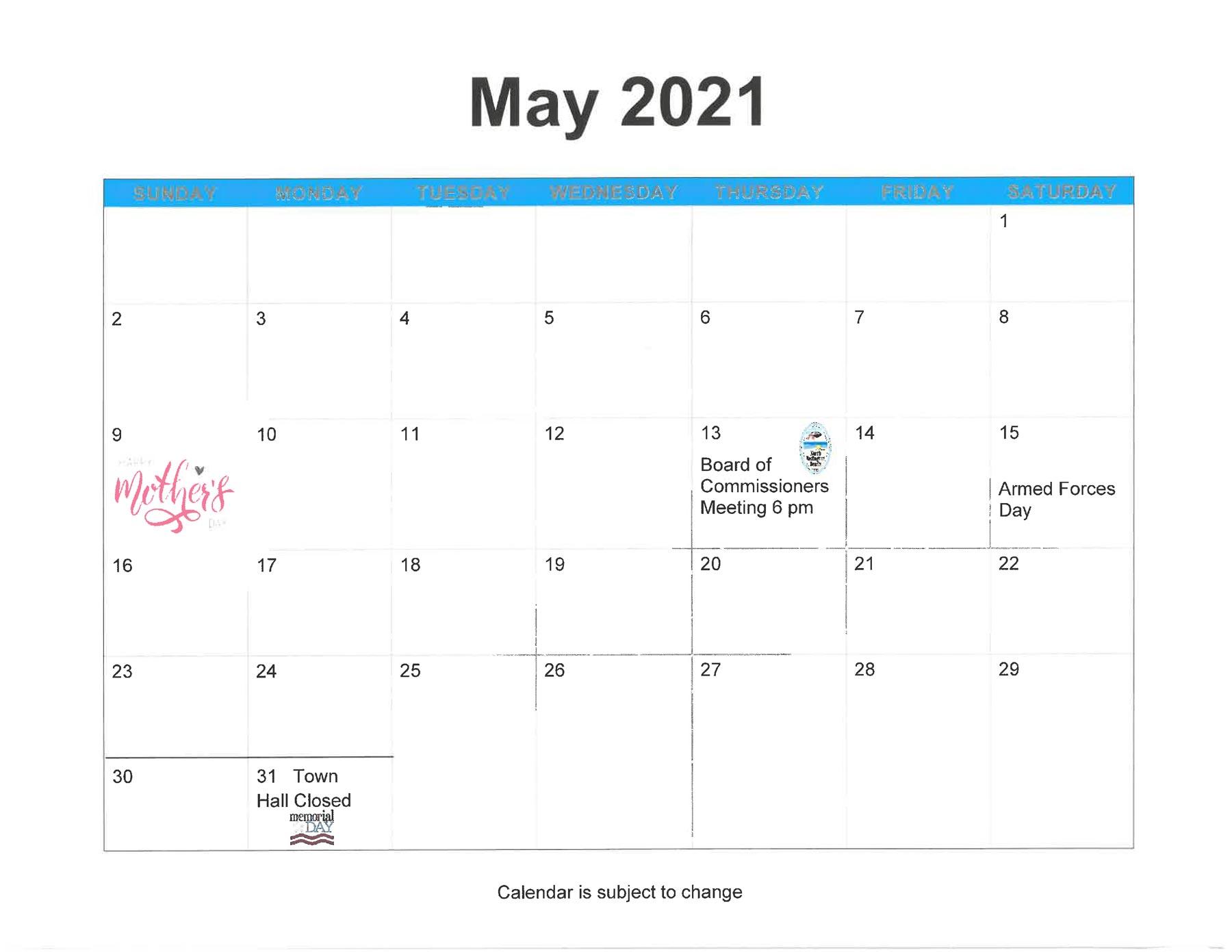 Town of North Redington Beach April 2021 Calendar